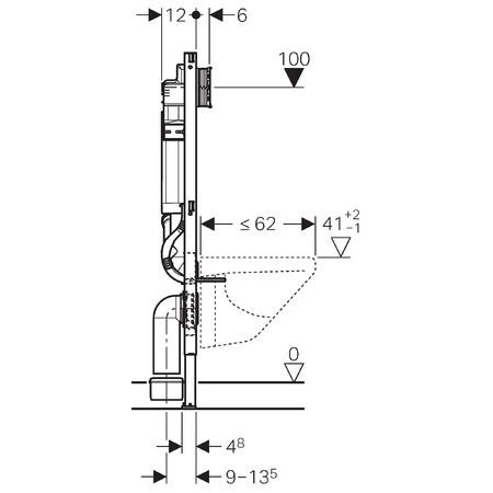 Geberit b ti support wc duofix sigma 12 cm aspiration - Wc suspendu dimension ...