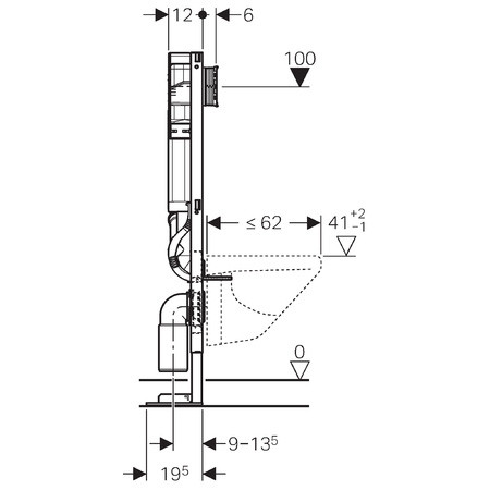 Geberit b ti support wc duofix sigma 12 cm duofresh autoportant - Encombrement wc suspendu geberit ...