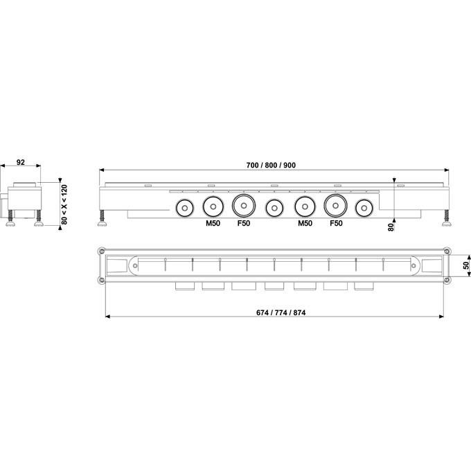 Caniveau de douche l 39 italienne venisio grille inox - Dimensions douche a l italienne ...