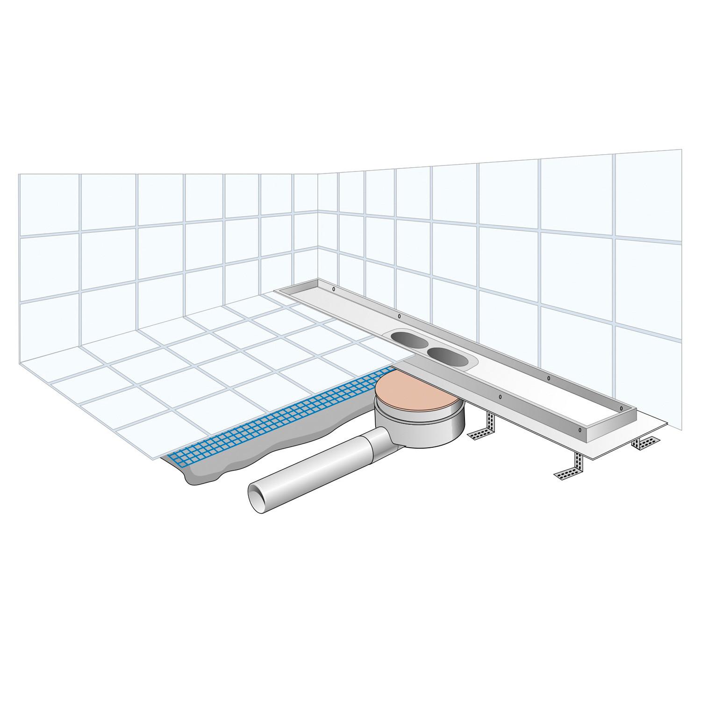 caniveau de douche abs grille lin a inox 600x30 50 hauteur 70mm. Black Bedroom Furniture Sets. Home Design Ideas