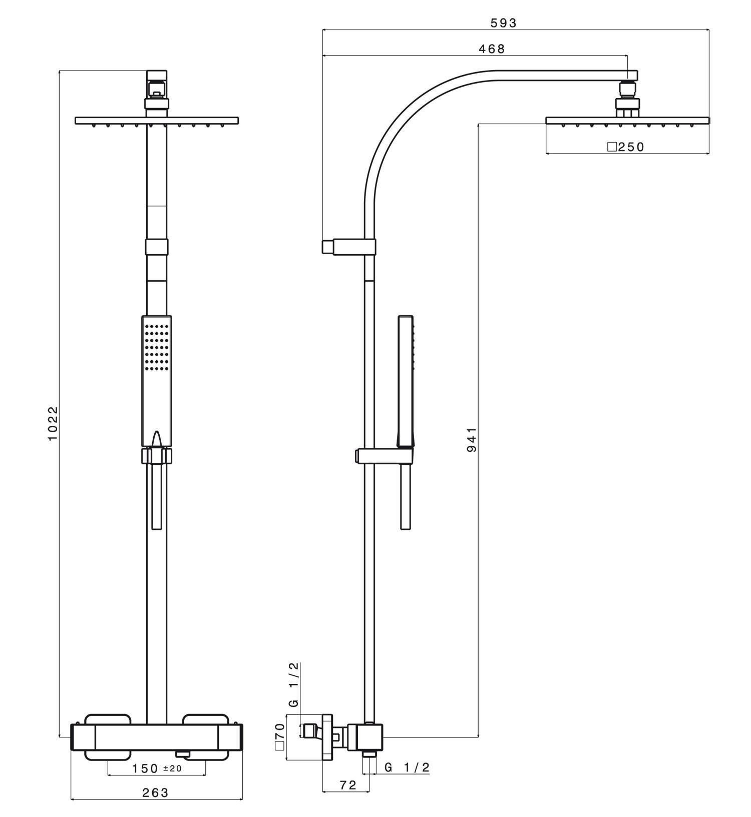 Colonne de douche soft carre cristina anjou connectique - Installation colonne de douche hauteur ...