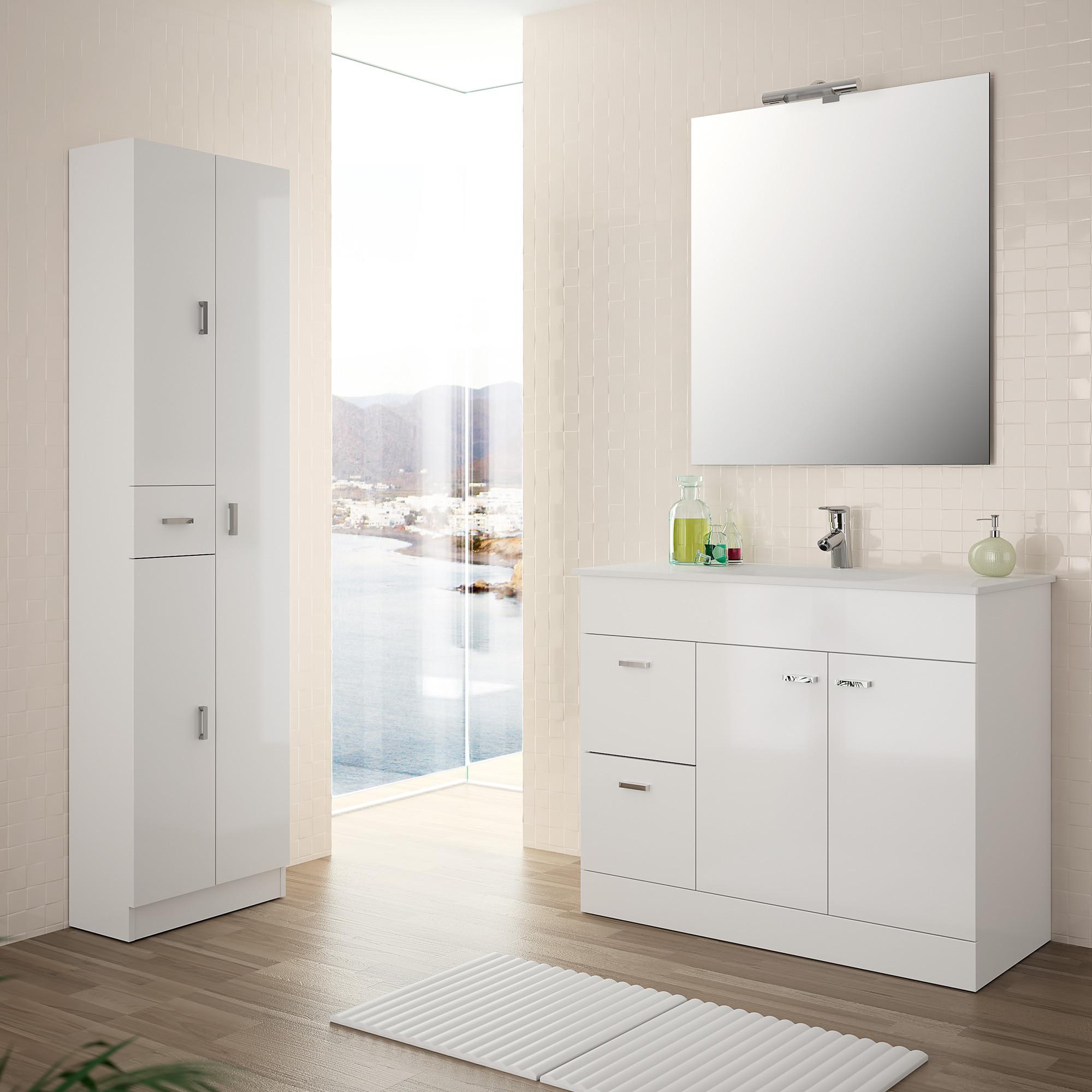 colonne salle de bain romantic blanc brillant 3 portes 1. Black Bedroom Furniture Sets. Home Design Ideas
