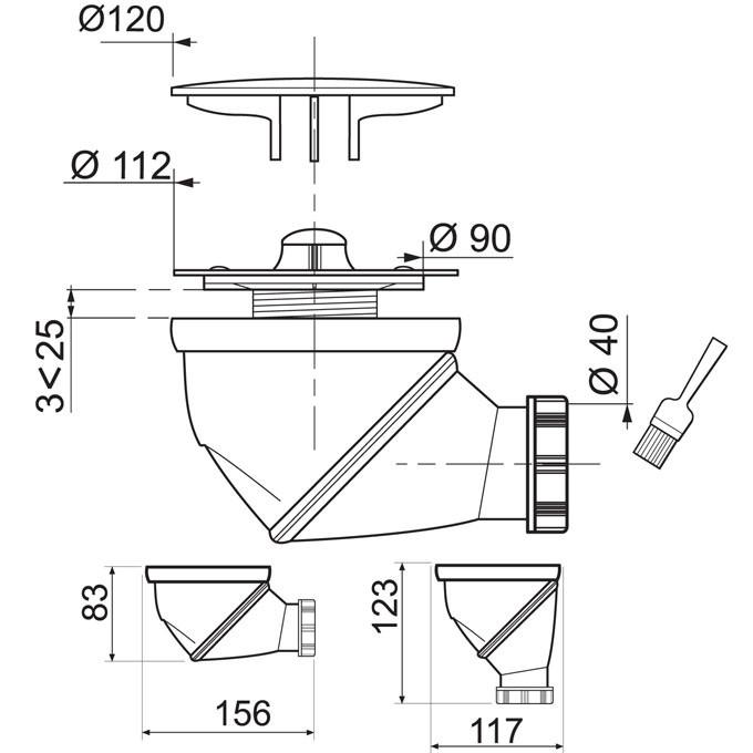 bonde de douche james horizontale verticale 90 mm anjou connectique. Black Bedroom Furniture Sets. Home Design Ideas