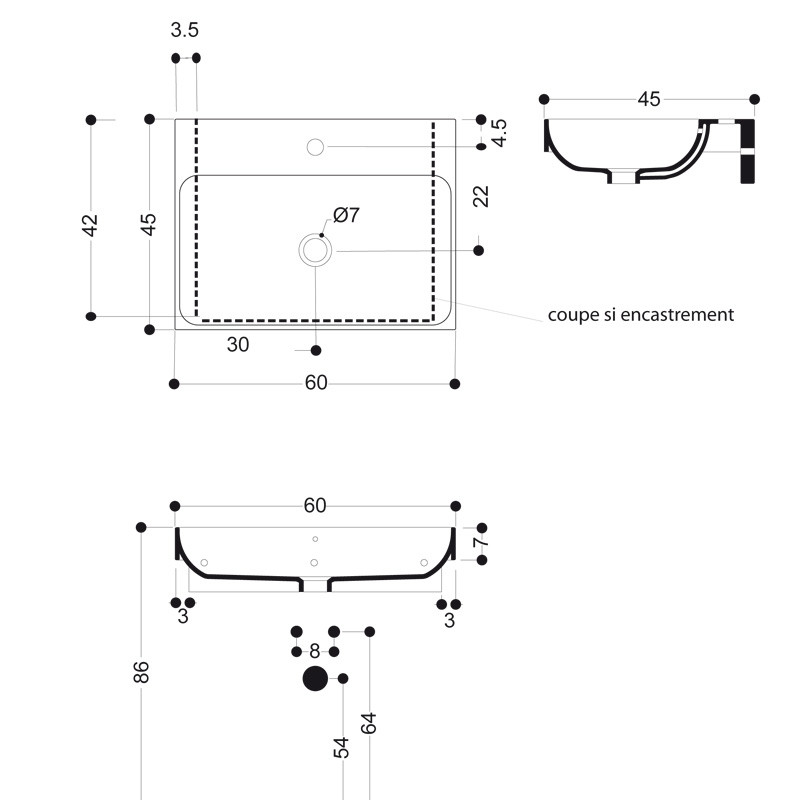 Lavabo c ramique normal sans per age robinetterie for Marque robinetterie italienne