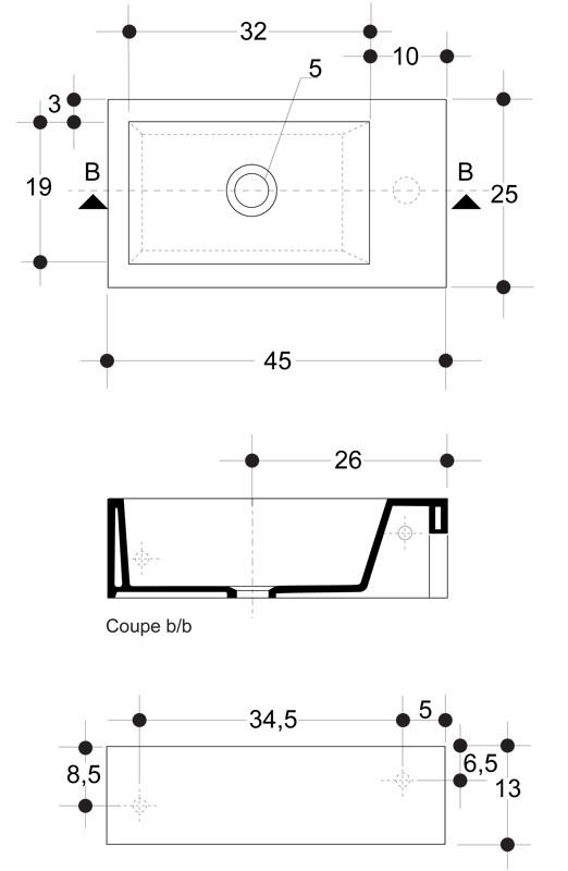 lave mains c ramique blanc brillant hox mini anjou connectique. Black Bedroom Furniture Sets. Home Design Ideas