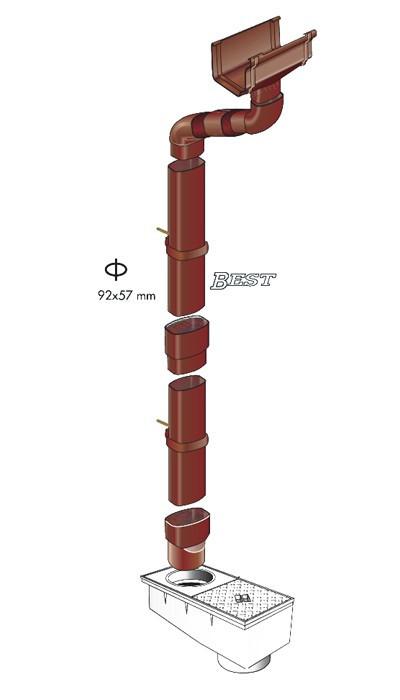 tube de descente oval 92x57 goutti re pvc carr e best. Black Bedroom Furniture Sets. Home Design Ideas