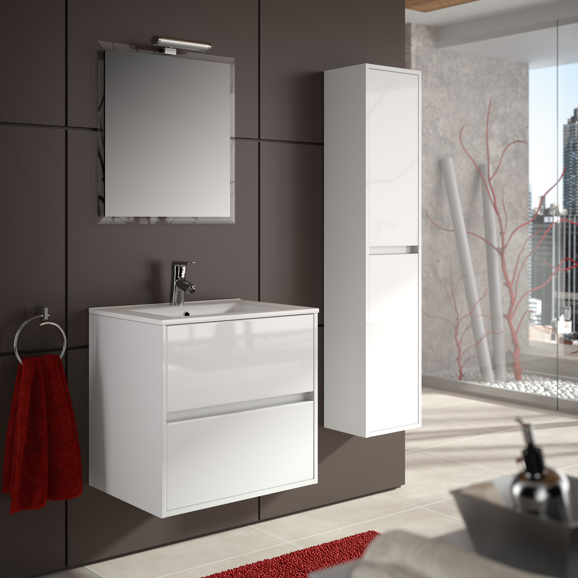 Meuble salle de bain bois blanc Salle de bains blanc