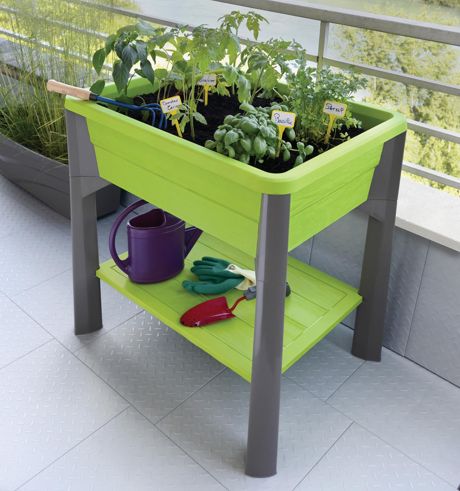 Espace potager veg&table avec serre   vert pistache/taupe   79 x ...