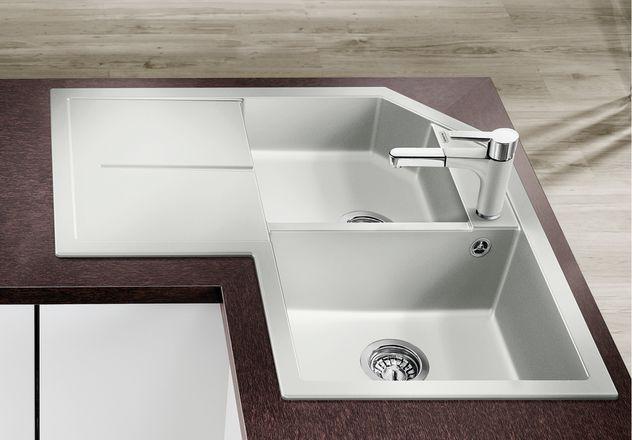 evier d 39 angle blanco metra 9 e vidage manuel anjou connectique. Black Bedroom Furniture Sets. Home Design Ideas