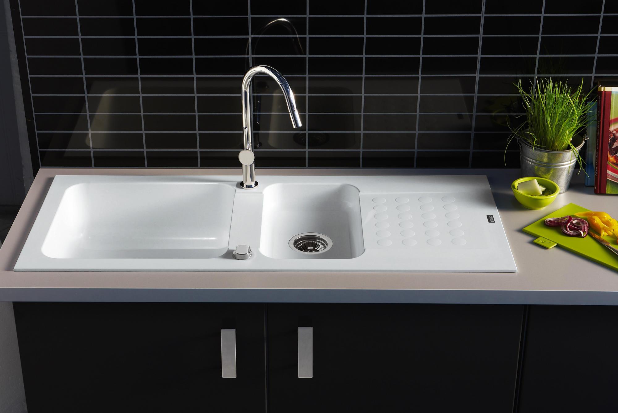 evier encastrer duo blanc 1 cuve 1 2 anjou connectique. Black Bedroom Furniture Sets. Home Design Ideas