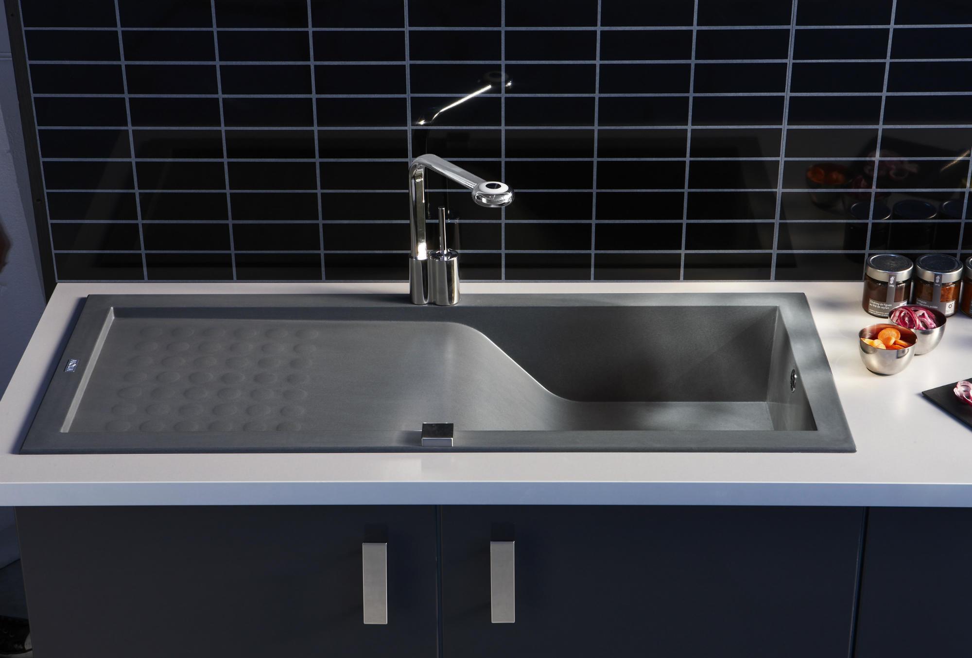 evier encastrer vague gris b ton 1 cuve anjou connectique. Black Bedroom Furniture Sets. Home Design Ideas