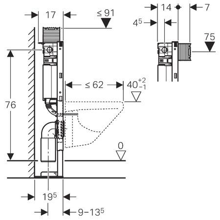 Geberit b ti support omega 12 cm hauteur 82 cm autoportant - Bati support geberit ...
