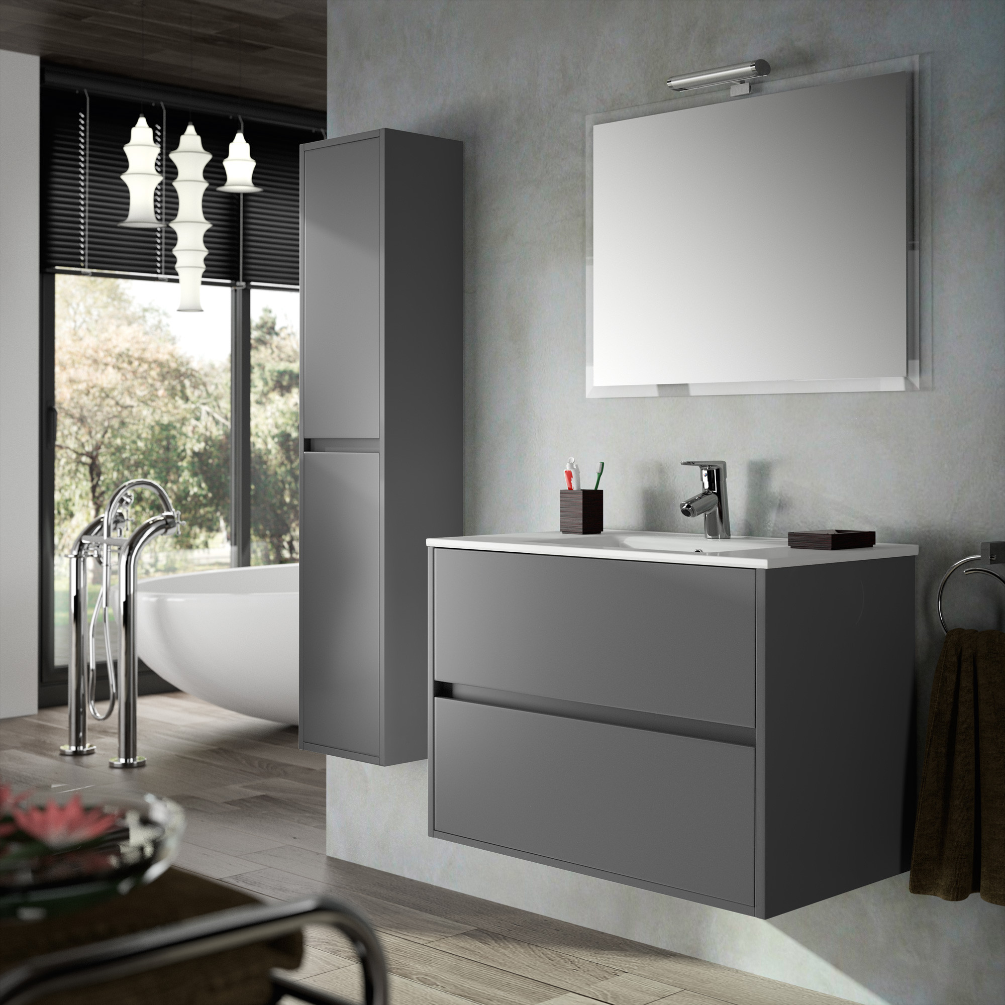 meuble complet salle de bain noja 900 gris anjou connectique. Black Bedroom Furniture Sets. Home Design Ideas