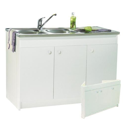 Meuble sous vier de cuisine blanc decliq anjou connectique for Meuble 3 portes sous evier