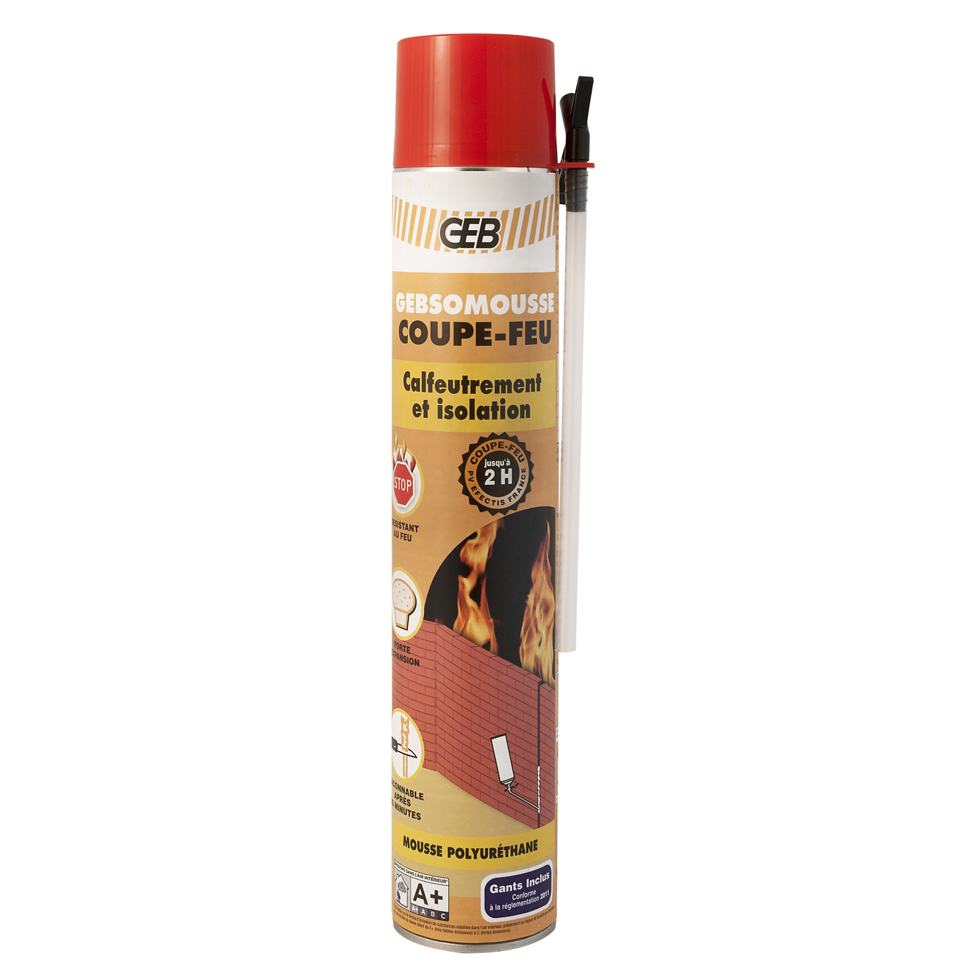 Mousse polyur thane coupe feu 700ml gants gebsomousse - Isolation mousse polyurethane ...