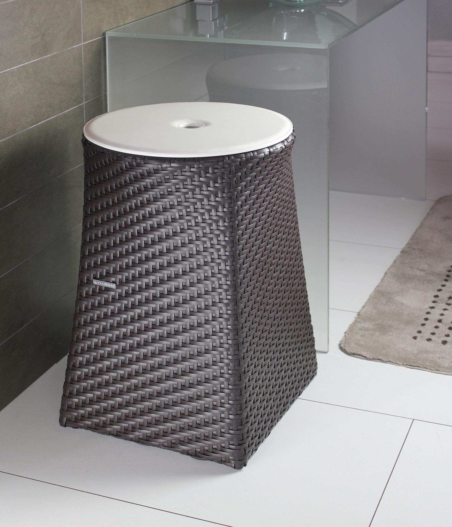 panier linge tabouret marron loft 47cm anjou connectique. Black Bedroom Furniture Sets. Home Design Ideas