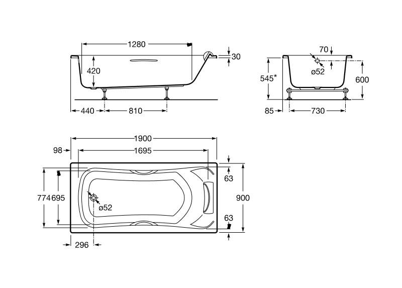 dimensions baignoire becool - Baignoire Taille Standard