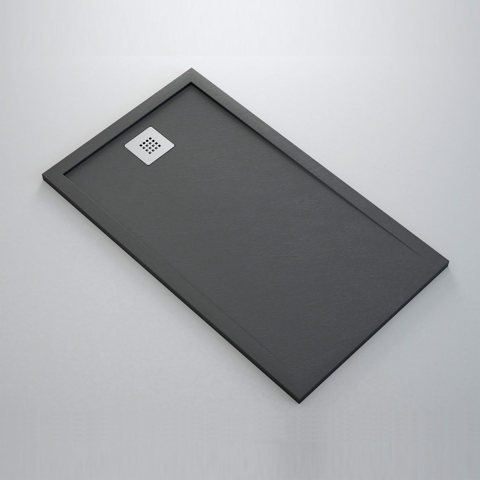 receveur de douche noir solid light en r sine ultra l ger anjou connectique. Black Bedroom Furniture Sets. Home Design Ideas