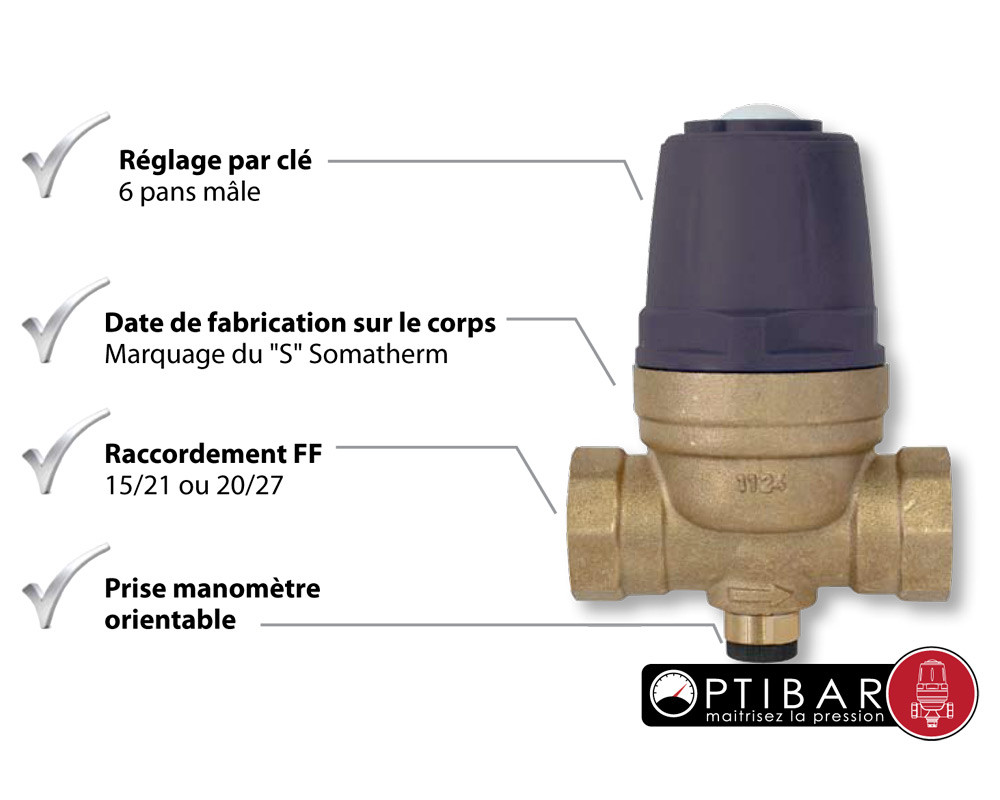 R ducteur pression optibar membrane ff 1 2 39 39 15 21 anjou connectique - Reducteur de pression d eau apres compteur ...