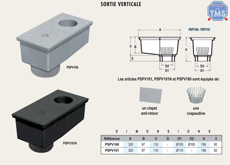 regard de descente 165x320mm pour eaux pluviales noir anjou connectique. Black Bedroom Furniture Sets. Home Design Ideas