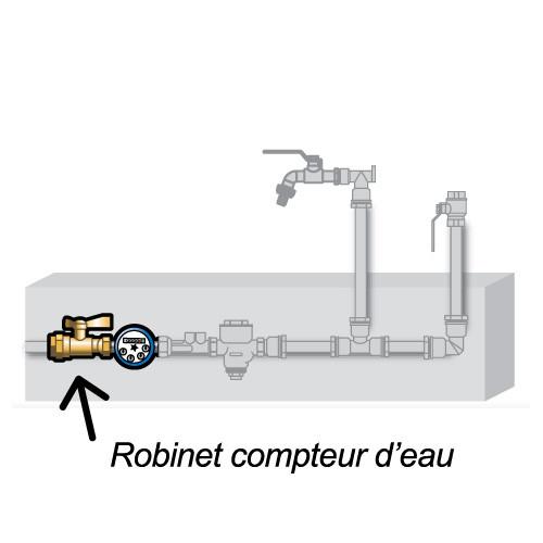 Robinet compteur droit purge m le 1 2 15x21 ecrou for Robinet purge chauffe eau