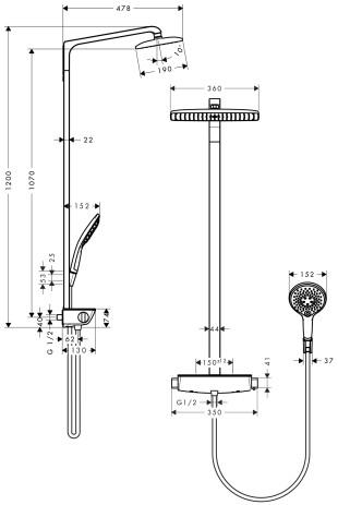 hansgrohe showerpipe raindance select e 360 blanc chrome colonne de douche colonne de. Black Bedroom Furniture Sets. Home Design Ideas