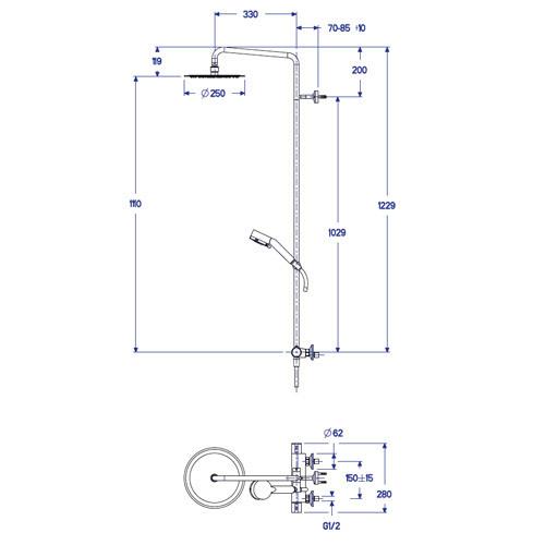Colonne de douche theta tropic cristina nf colonne de for Installer colonne de douche