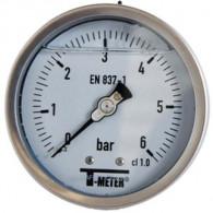 "Manomètre TOUT Inox à bain de glycérine RADIAL Mâle 1/2"" (15/21) - Ø100 - Pression 0 / 1,6 bars - Sferaco"
