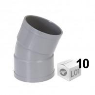 Lot de 10 coudes PVC 22°30 FF Ø40 - Ø50 - Ø100 - NF M1 - First Plast