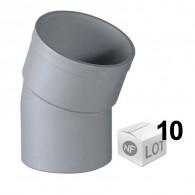 Lot de 10 coudes PVC 22°30 MF Ø40 -  Ø50 - Ø100 - NF M1 - First Plast