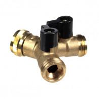 Jonction Y filetée mâle 3/4 (20x27) avec 2 robinets - écrou libre