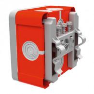 Boite dérivation étanche rouge OPTIBOX tétines IP55 80x80x42mm avec fixation