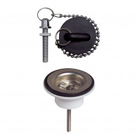 Bonde Lavabo Ø72 mm à bouchon en plastique - Wirquin Pro 30720410