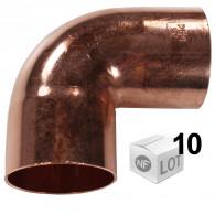 Lot de 10 coudes cuivre à souder FF 90°