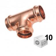 Lot de 10 raccords cuivre à sertir Ø12mm à Ø22mm - Té égal Femelle