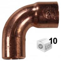 Lot de 10 courbes cuivre à souder MF 90°