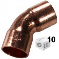 Lot de 10 coudes cuivre à souder FF 45°