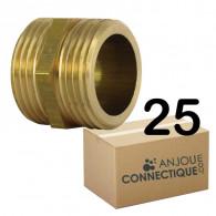 """Lot de 25 Mamelons Laiton Égal mâle/mâle 3/4"""" (20/27) - Arcanaute"""