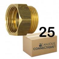"""Lot de 25 Mamelons Laiton Egal Mâle/Femelle 3/4"""" (20/27) - Arcanaute"""