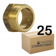 """Lot de 25 Mamelons Laiton Femelle/Mâle Réduit 1/2""""-3/8"""" (15/21-12/17) - Arcanaute"""
