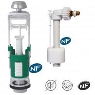 Ensemble NF mécanisme universel double débit et robinet flotteur hydraulique REGIPLAST