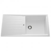 Évier de cuisine blanc SLAVE - L 1000 x l 500 x P 185 mm - sous-meuble 60 cm - Aquatop