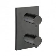 Façade thermostatique 2 sorties en laiton Blackmat Triverde - Ondyna XT85213