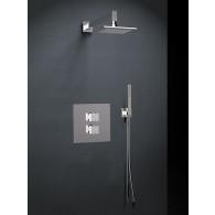 Ensemble de douche thermostatique encastré 2 voies KUATRO  - douche de tête - douchette - Ramon Soler K4787001
