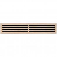 Grille ventilation rectangulaire en bois 80x450mm, trou 68x438mm, à encastrer