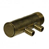 """Collecteur 3/4"""" (20/27) Mâle-Bouchonné 2 piquages à glissement pour tube PER diamètre 12 compris 2 bagues de 12"""
