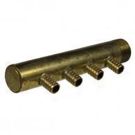 """Collecteur 3/4"""" (20/27) Mâle-Bouchonné 4 piquages à glissement pour tube PER diamètre 12 compris 4 bagues de 12"""