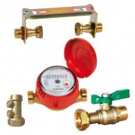 Kit compteur eau chaude : robinet compteur + clapet antipollution + support