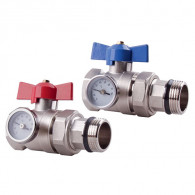 Kit vannes droites rouge/bleue laiton chrome avec thermomètre MF 26X34