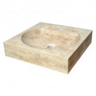 Lavabo à poser en pierre sable L45 x P45 x H10